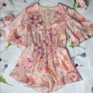 NWT Lovers + Friends paisley split sleeve romper